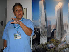 Rita with a mock up of the Ground Zero Memorial