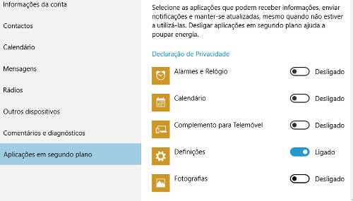 Aplicativos a correr em segundo plano do windows 10