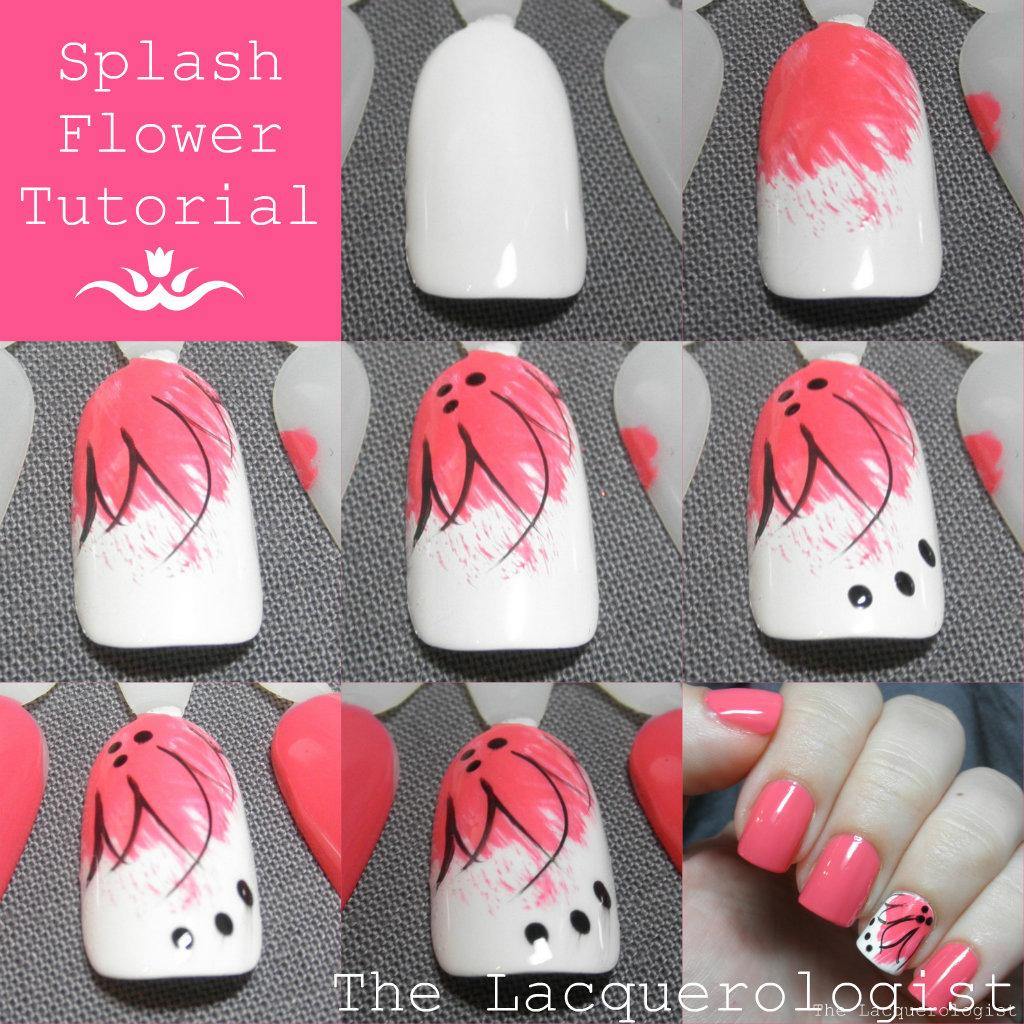 Flower Nail Art Tutorial: Lacquerologist Splash Flower Tutorial