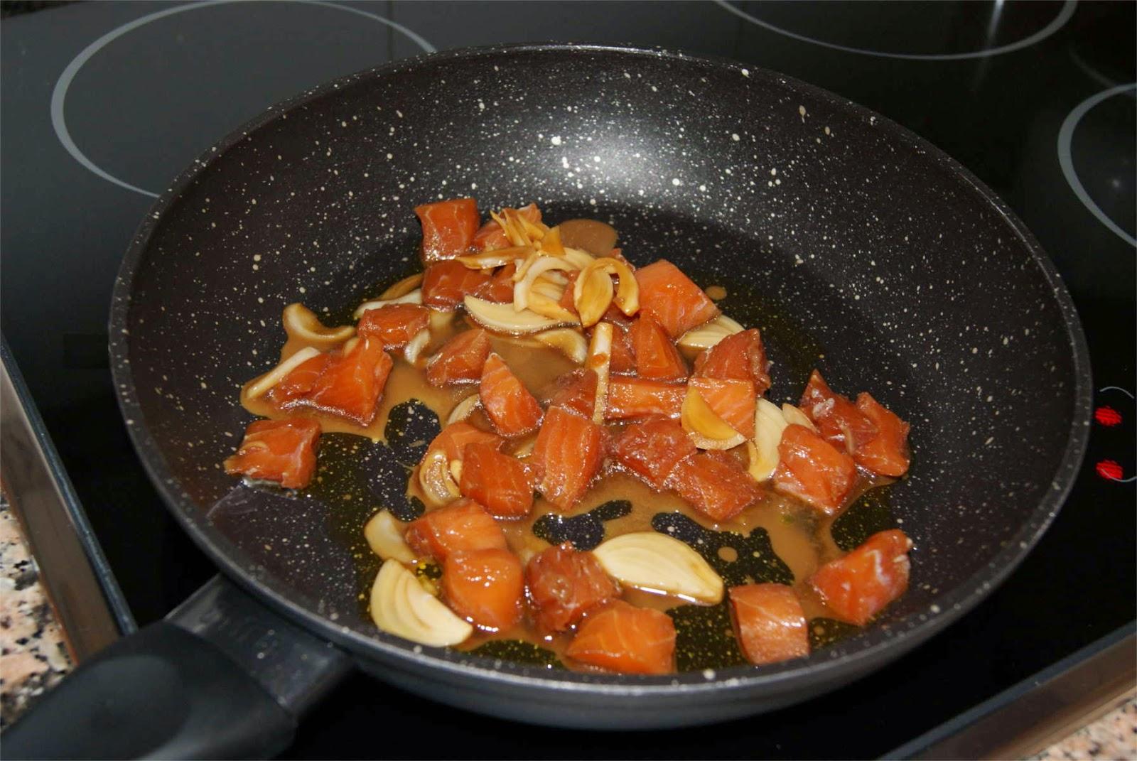 Macarrones con salmón paso 3
