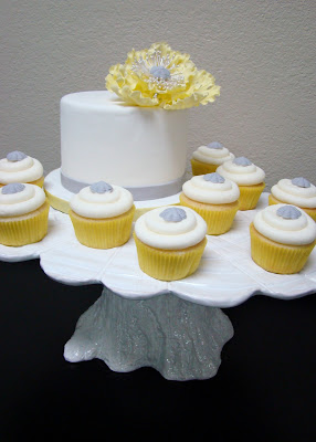 yellow and gray wedding cupcakes