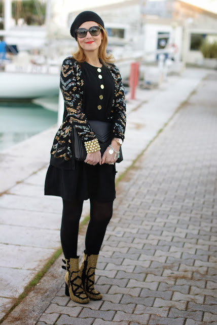 Roberto Botticelli sequin ankle boots, Asos golden bracelet, Marc by Marc Jacobs Hobbes cardigan, Fashion and Cookies, fashion blogger