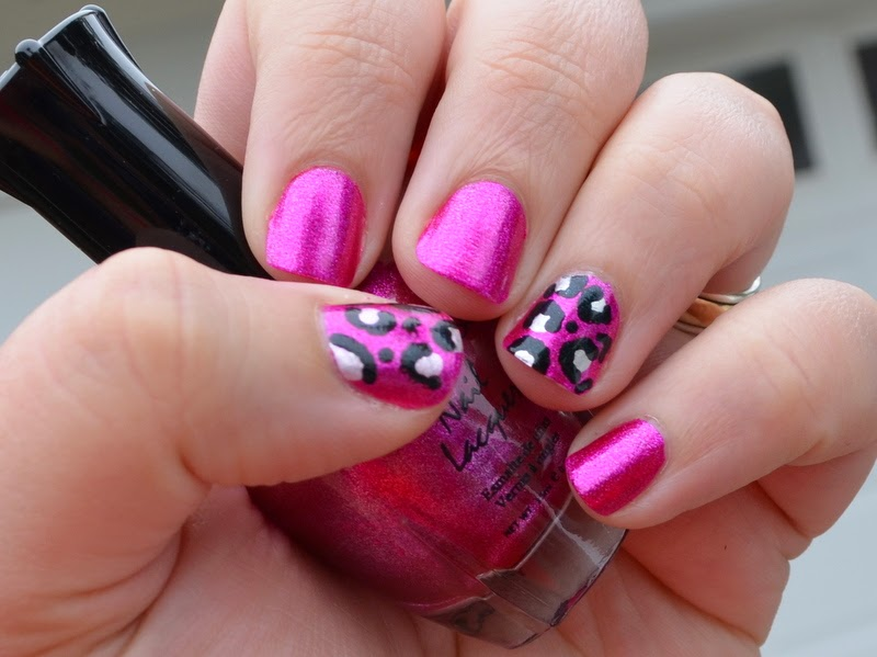 Metallic pink cheetah nail art