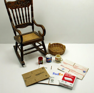 1/12th Scale rocking chair, Vegetable shortening, peanut butter, basket, coffee mug, shipping boxes
