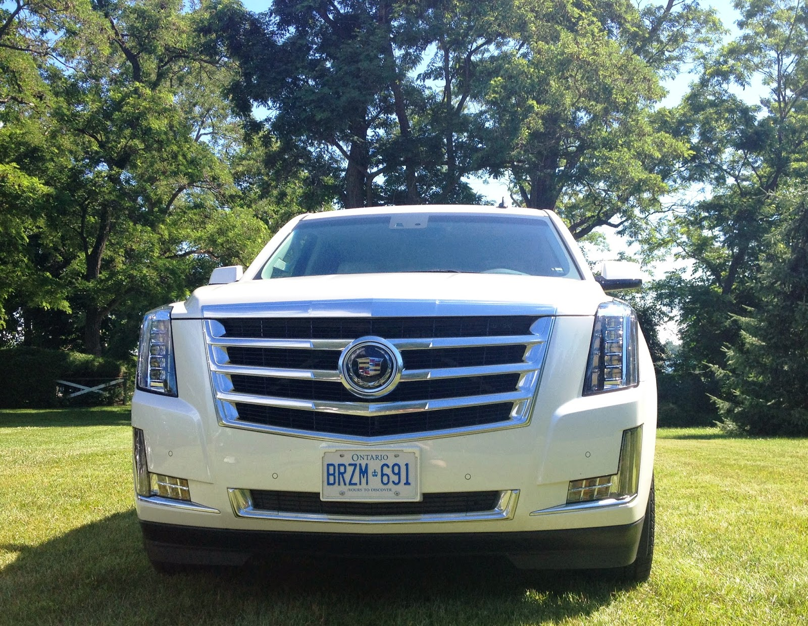 The highly detailed Galvano chrome grille of the 2015 Cadillac Escalade