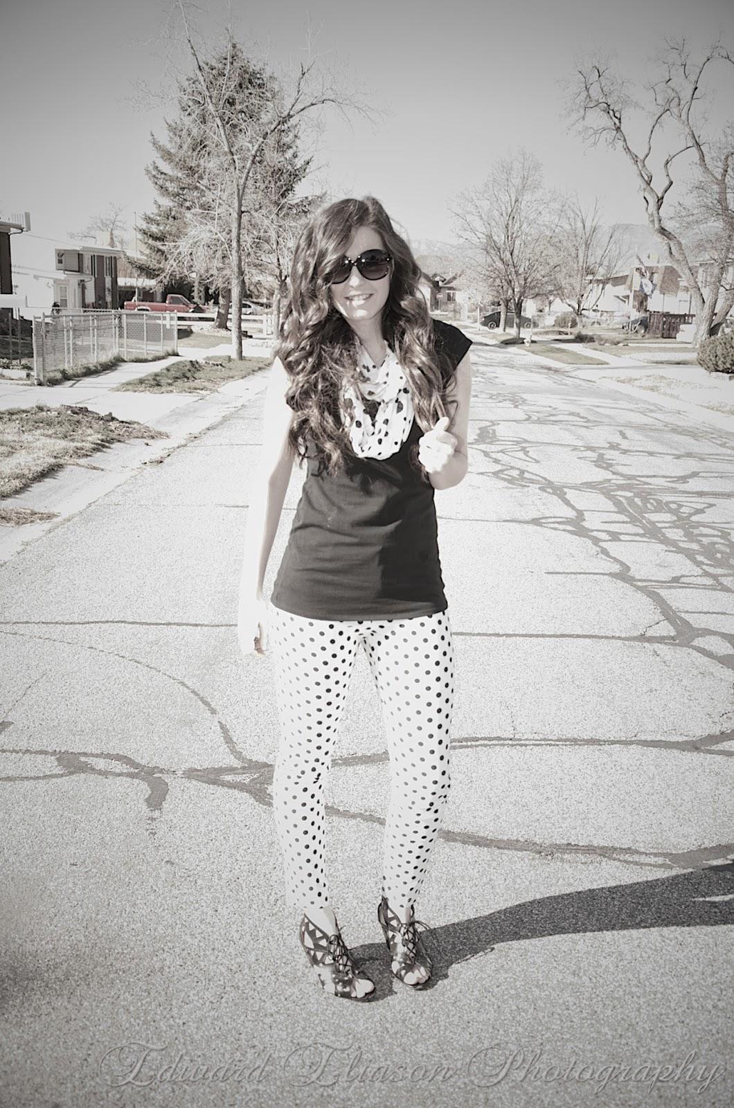 polka dots, polka dot pants, windsor store, windsor pants, polka dot scarf, eco shag, ecoshag,