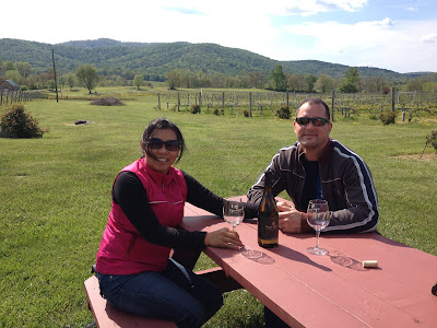 Drinking wine at Philip Carter Winery