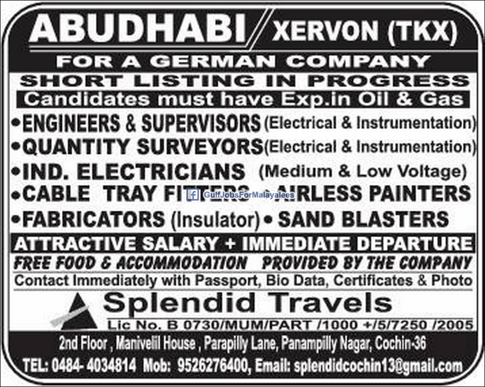 vacancies in abu dhabi xervon for a german company gulf jobs for malayalees. Black Bedroom Furniture Sets. Home Design Ideas