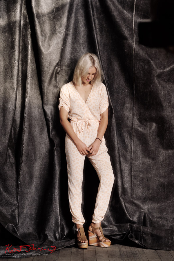 Kyla modelling, Cheetah pattern jump suit Shot 2 - Finders Keepers Label, from Apple and Eve. Studio Fashion Photography