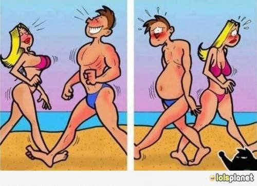 Meanwhile on Beach , this is how girls and guys act on beach . Funny human behavior . Picture of people on beach