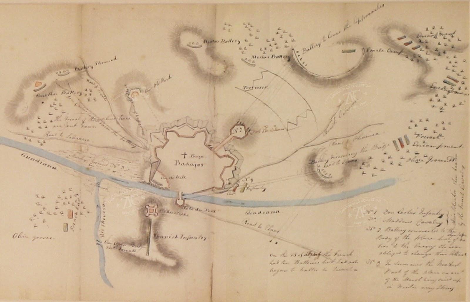 Badajoz 1811-1812: Map of Siege of Badajoz, Spain 1812