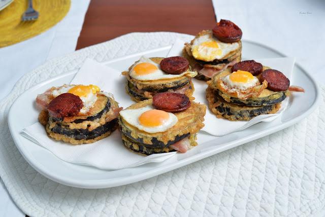 tapas rioja chorizo eggplant quail egg ham