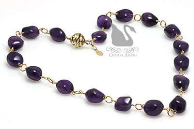 Handmade Golden Rings Amethyst Gemstone Necklace (N051)