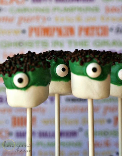 Marshmallow Monster Pops via herecomesthesunblog.net