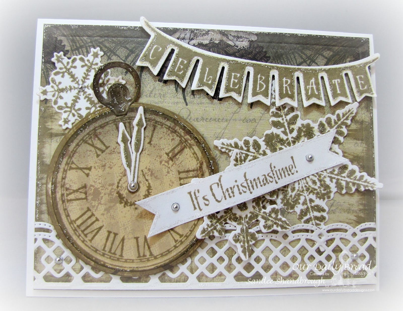 Stamps - Our Daily Bread Designs God's Timing, ODBD Custom Circle Ornament Dies, ODBD Custom Matting Circle Dies, ODBD Custom Beautiful Borders Dies, ODBD Christmas Paper Collection 2013, Sparkling Snowflake, Christmas Pennant Swag, ODBD Custom Swag Die, ODBD Custom Snowflake Dies