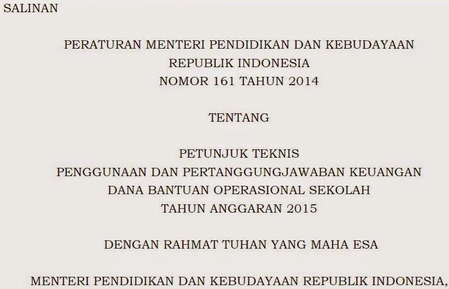 Peraturan Menteri Pendidikan tentang BOS