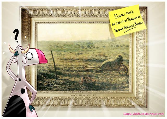 illustration humoristique de la vache qui meuh pour le salon de l'agriculture