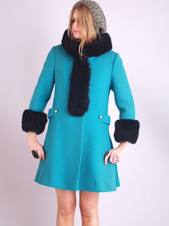 Vintage 1960's turquoise wool peacoat with black fox fur collar and cuffs