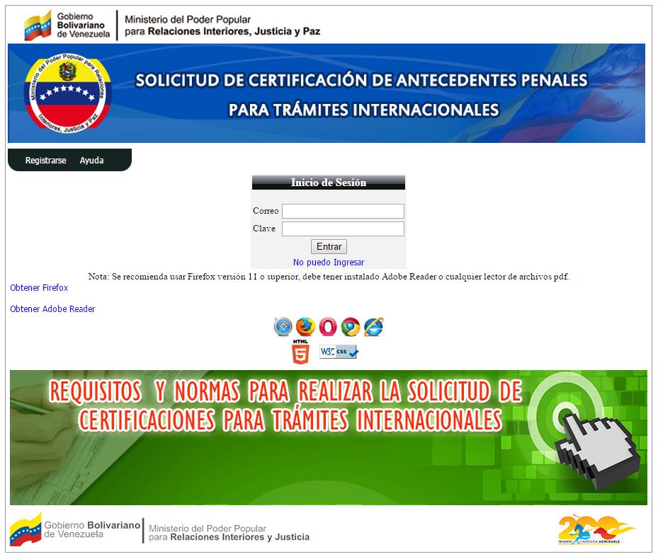 Xodo venezolano certificaci n de antecedentes penales for Ministerio de relaciones interiores y justicia