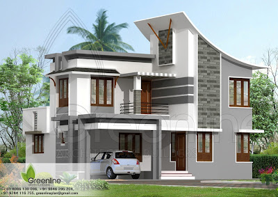 ... Home Plans on 1880 Sq Ft Modern Indian Style House Elevation Design
