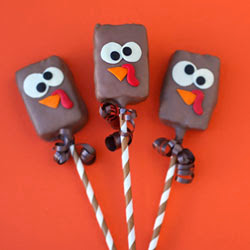 Rice Krispies Treat Turkey Pops