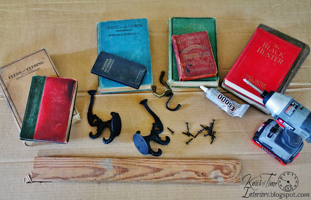 repurposed books coat rack tutorial at KnickofTime.net