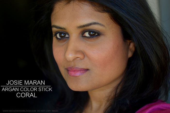 Josie Maran Argan Color Stick - Cheeks and Lips - Coral - Photos Swatches Review FOTD