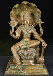 Vishnu developed from a comparatively minor god in the Vedas into the Great Preserver of the Hindu trinity, the kind and compassionate god who stood with Brahma the Creator and Shiva the Destroyer. Pala sculpture, eighth century.