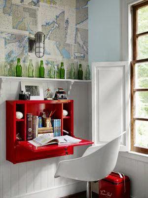 ahorrar espacio, escritorio colgado pared