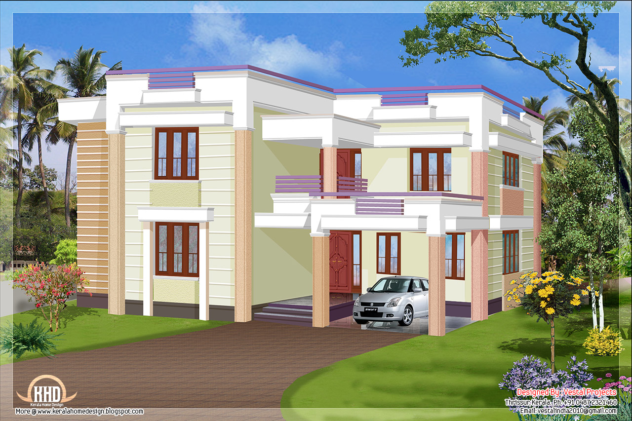 1957 square feet flat roof house kerala home design and for Kerala home design flat roof elevation