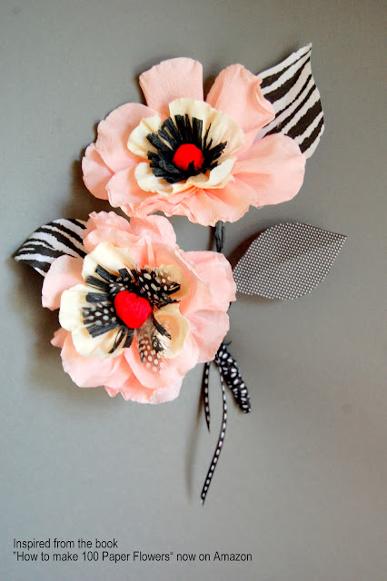 crepe paper flower poppy diy