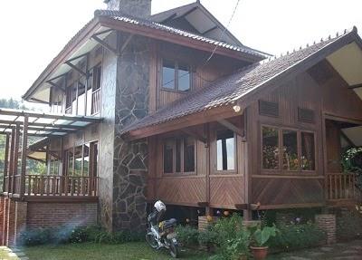 contoh gambar rumah kayu untuk villa