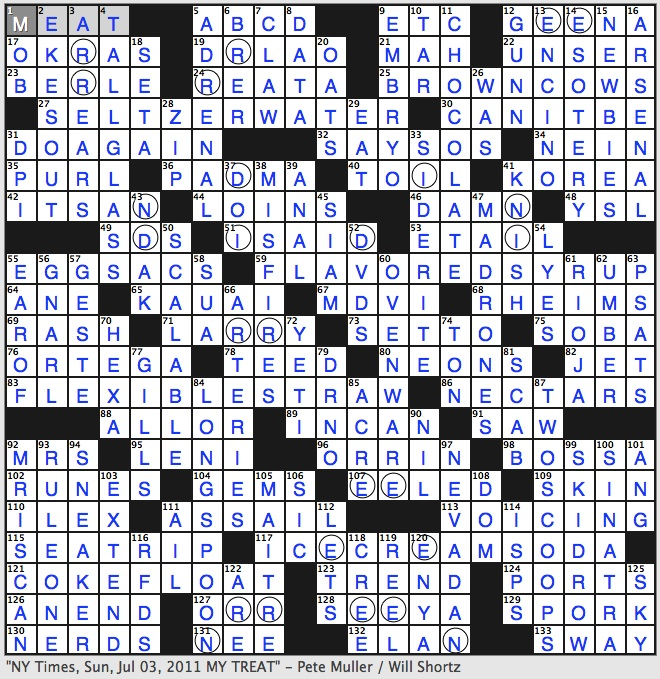 Rex parker does the nyt crossword puzzle west coast evergreens picture created by following instructions in the puzzle note includes a tall glass two scoops a long spoon and a flexible straw malvernweather Choice Image