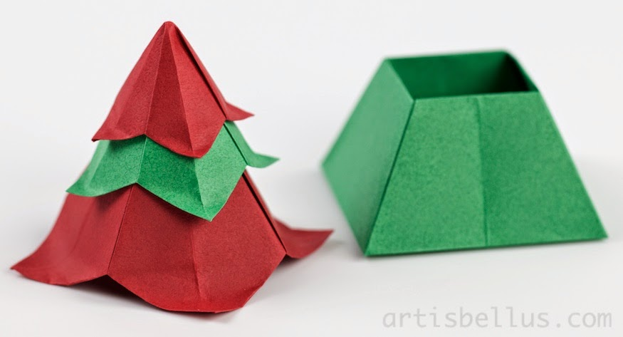 origami boxes christmas tree box - Christmas Tree Box