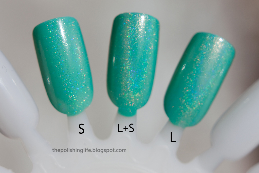 Comparison of ILNP I Love Nail Polish My Private Rainbow Scattered, Linear and L+S.