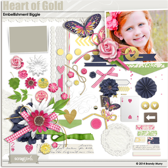 Heart of Gold Digital Scrapbooking Kit