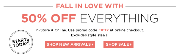 50% off everything in stores and online at the limited