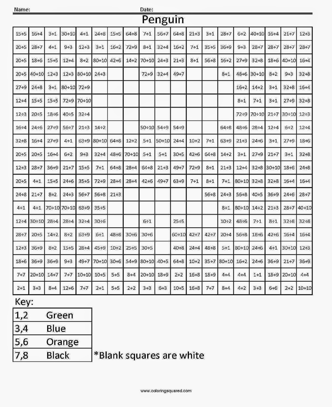 Math coloring sheets for high school color by addition for Division facts coloring page