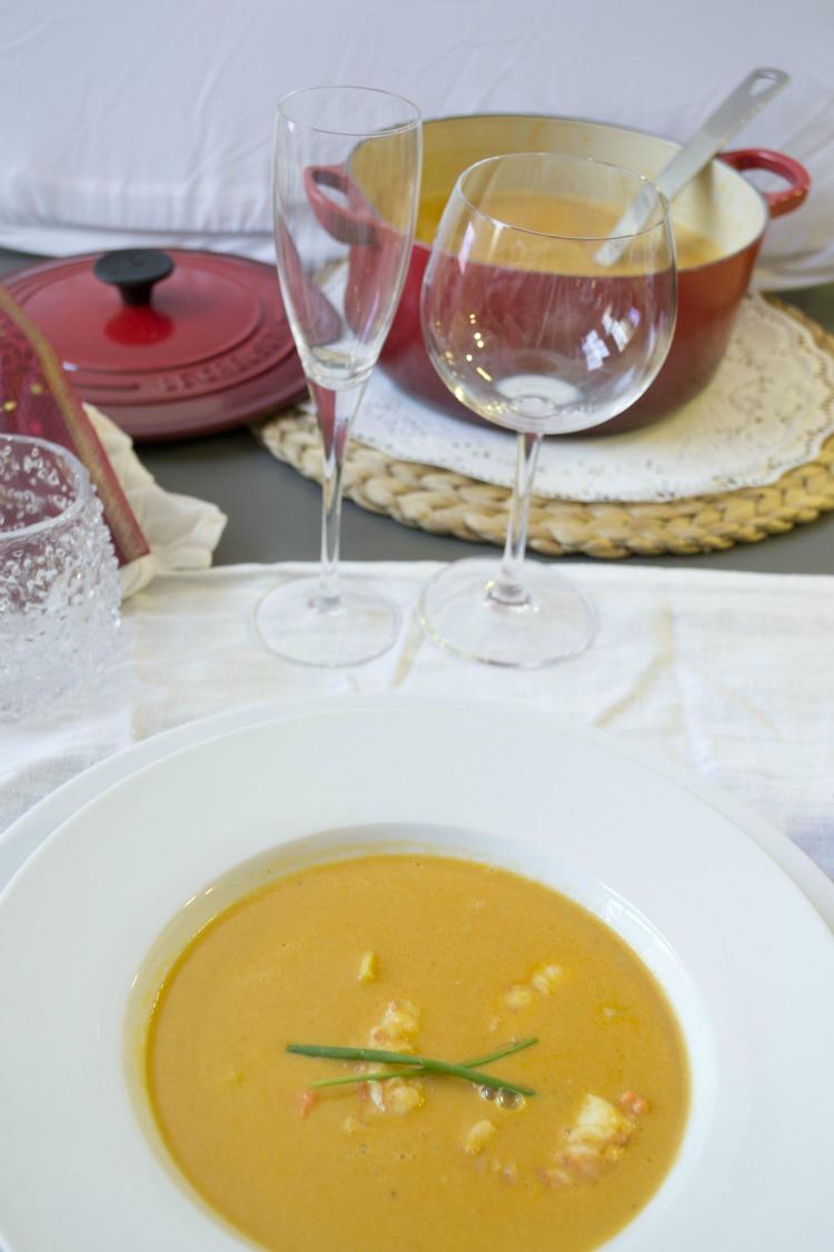 receta de crema suave de langostinos
