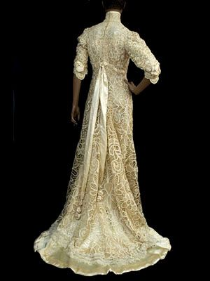 French Battenberg Lace Wedding Gown C1900