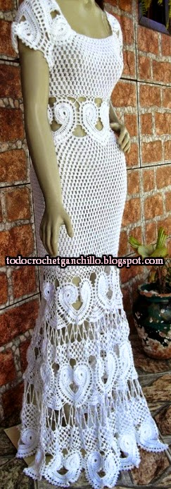 Vestido blanco de dama color blanco tejido con ganchillo