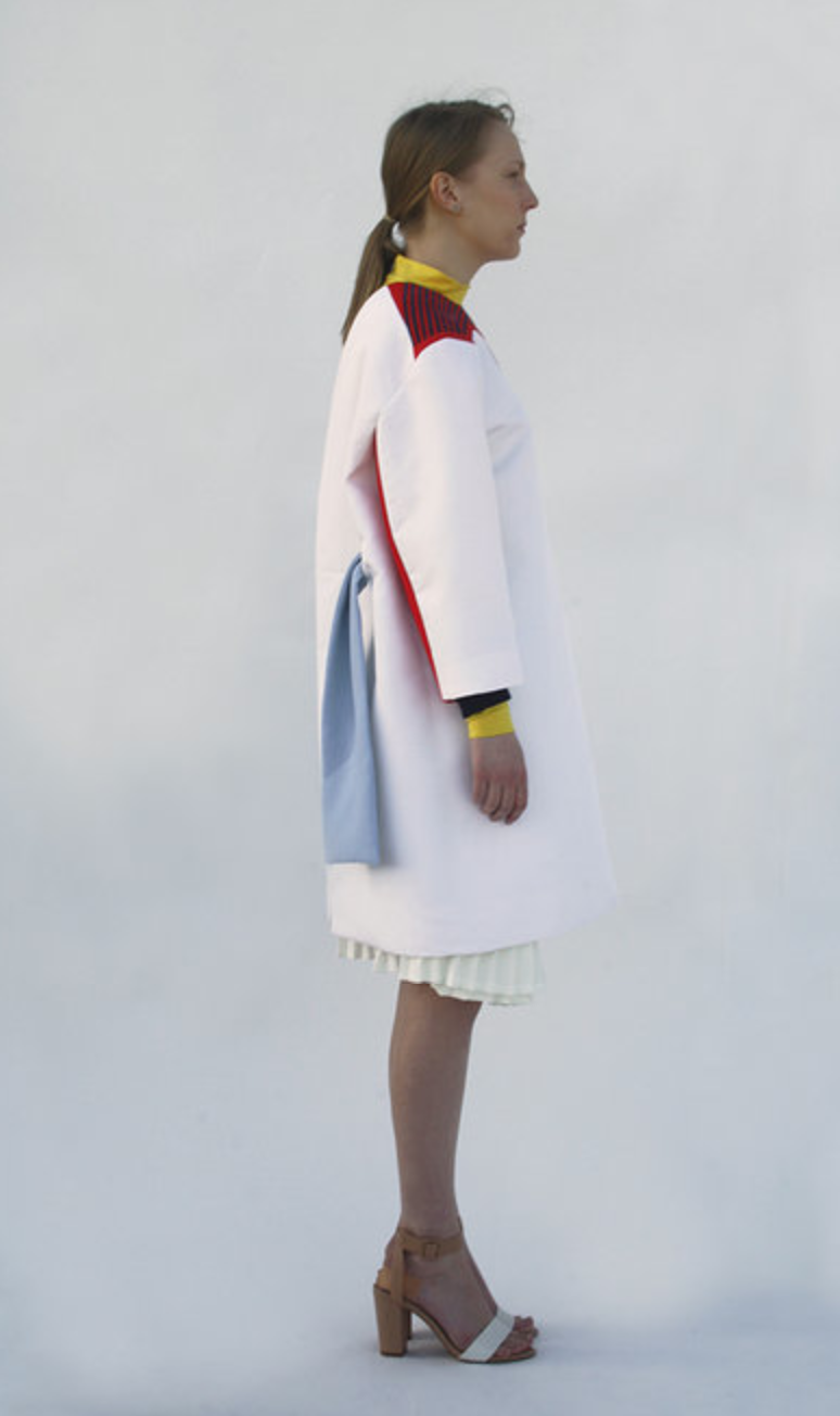 coat, white, blue, red, yellow