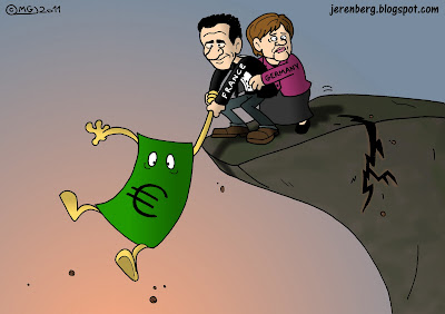 euro currency bill hanging on france germany nicolas sarkozy angela merkel hanging off cliff cracking crumbling