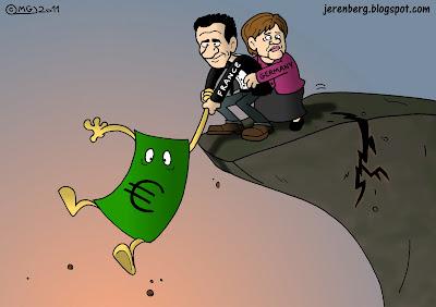 euro currency bill hanging on france germany nicolas sarkozy angela merkel hanging off cliff cracking crumbling