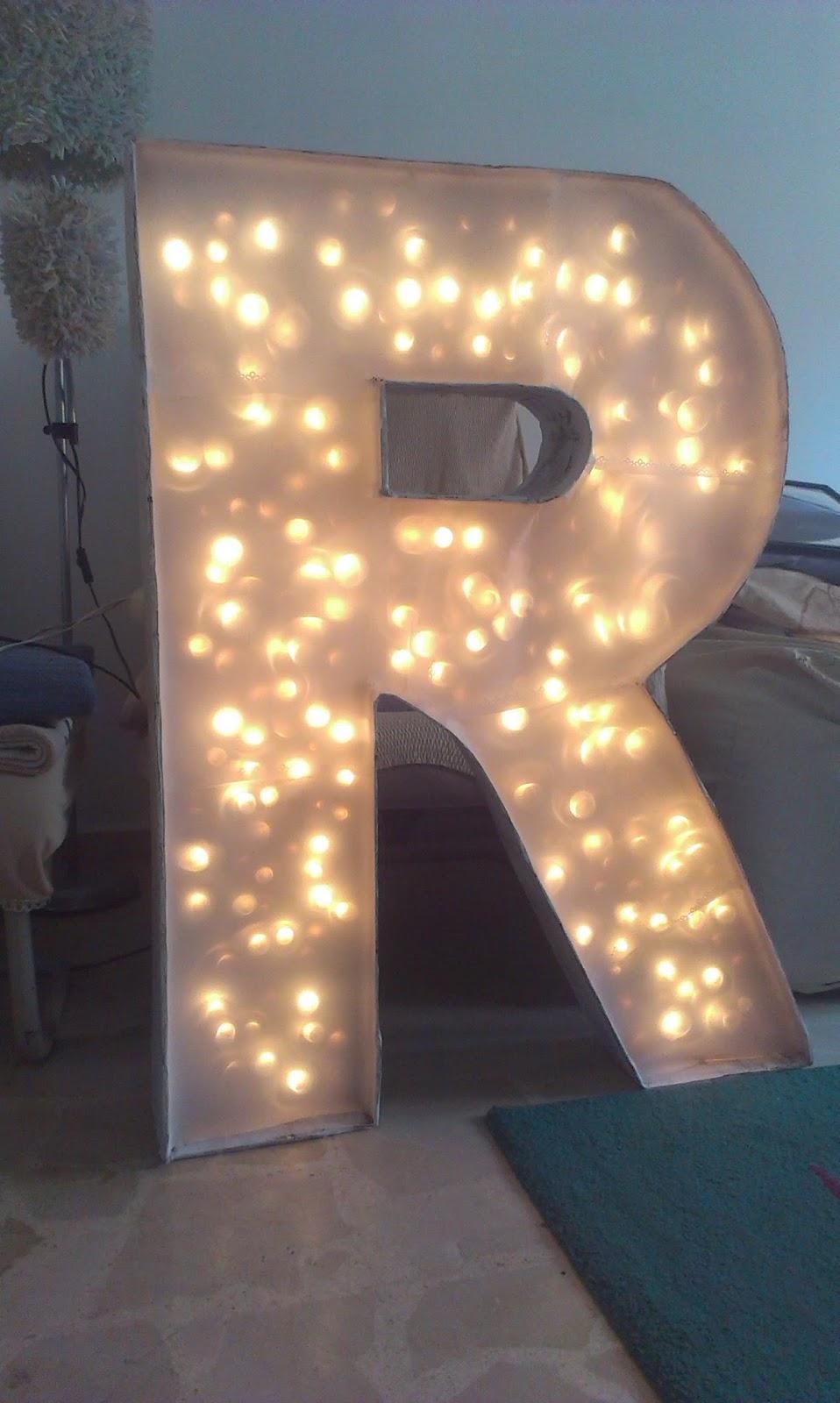 arte en tu dia letras con luz. Black Bedroom Furniture Sets. Home Design Ideas