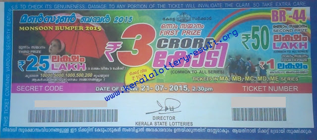 Monsoon Bumper 2015 Lottery Result 21-7-2015