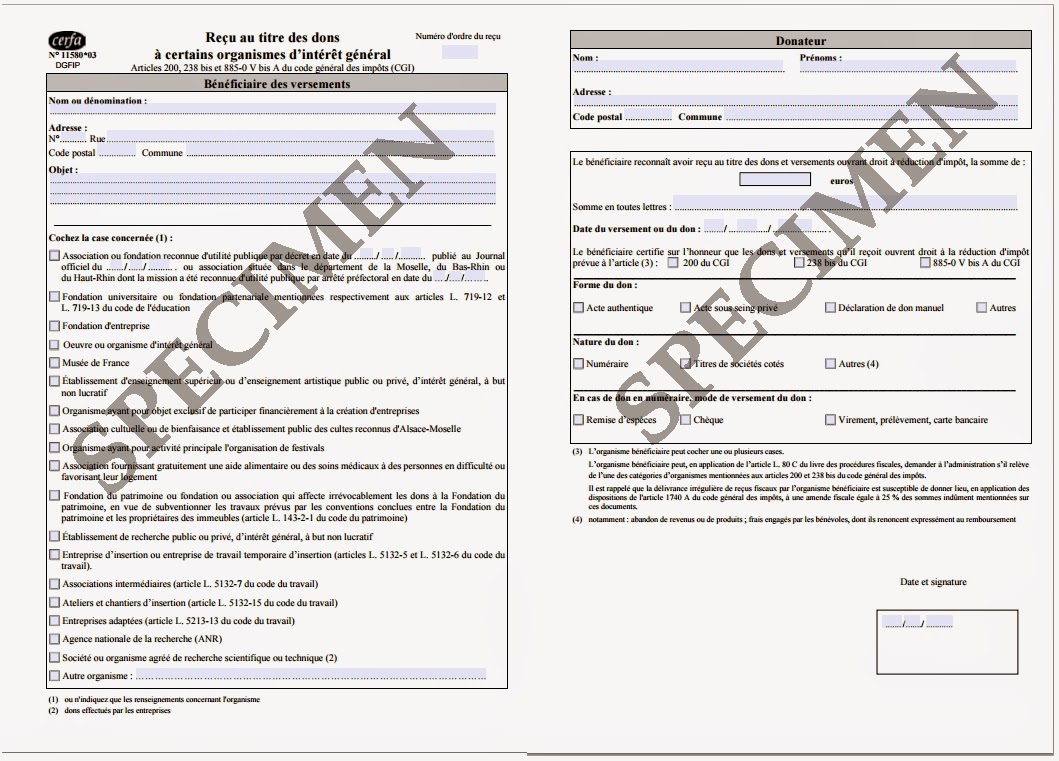 Format du reçu fiscal envoyé