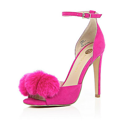 River Island Pink High heeled peeptoe ankle straps shoes with pop pom
