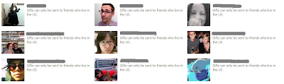 Screencap of more friends, each labeled with Gifts can only be sent to people living in the US.