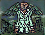 "CURRENT ART FOR BARTER: Unemployed Angel-acrylic on paper-11""x 14"""